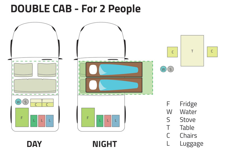 Double Cab Day Night 2 People
